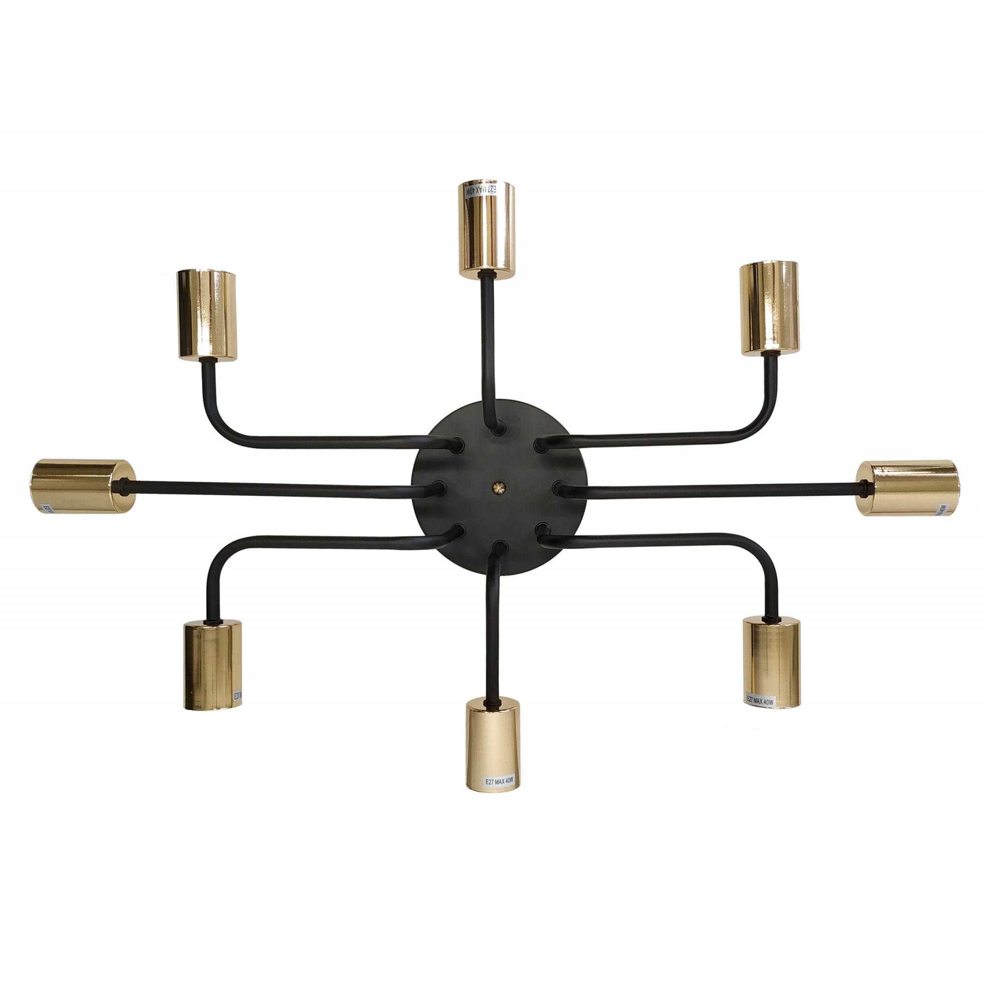 Plafon Metal Preto e Dourado 8E27 63X43CM