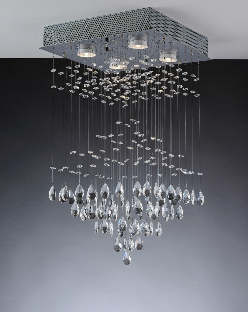Plafon Sobrepor Cristal Piramidal 34CM 4 Lâmpadas llum