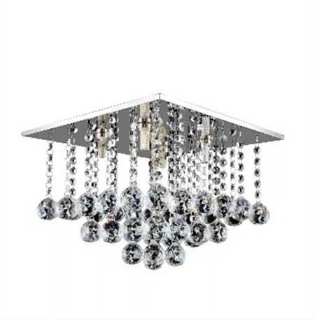 Plafon Sobrepor Cristal Quadrado 25x25cm 4 Lâmpadas G9