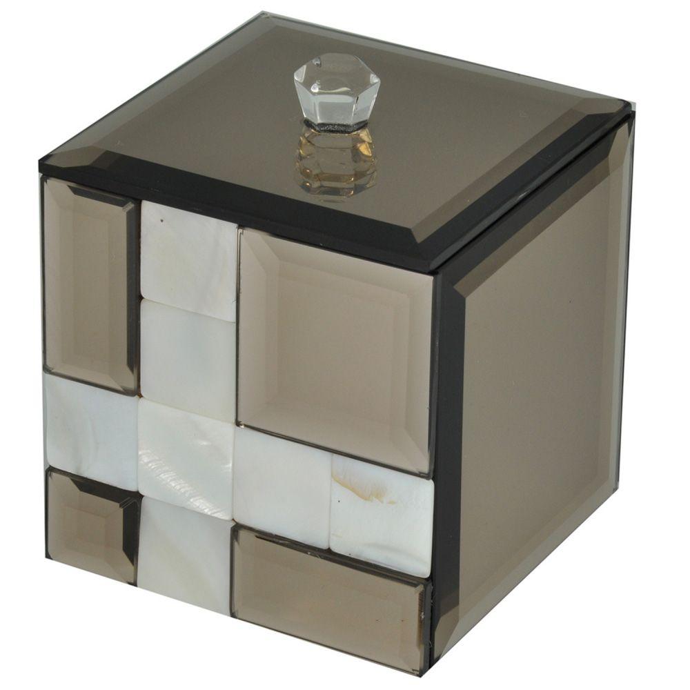 Porta Cotonetes Decorativo Espelhado Fume C/ Madreperola 9X8CM KV0053