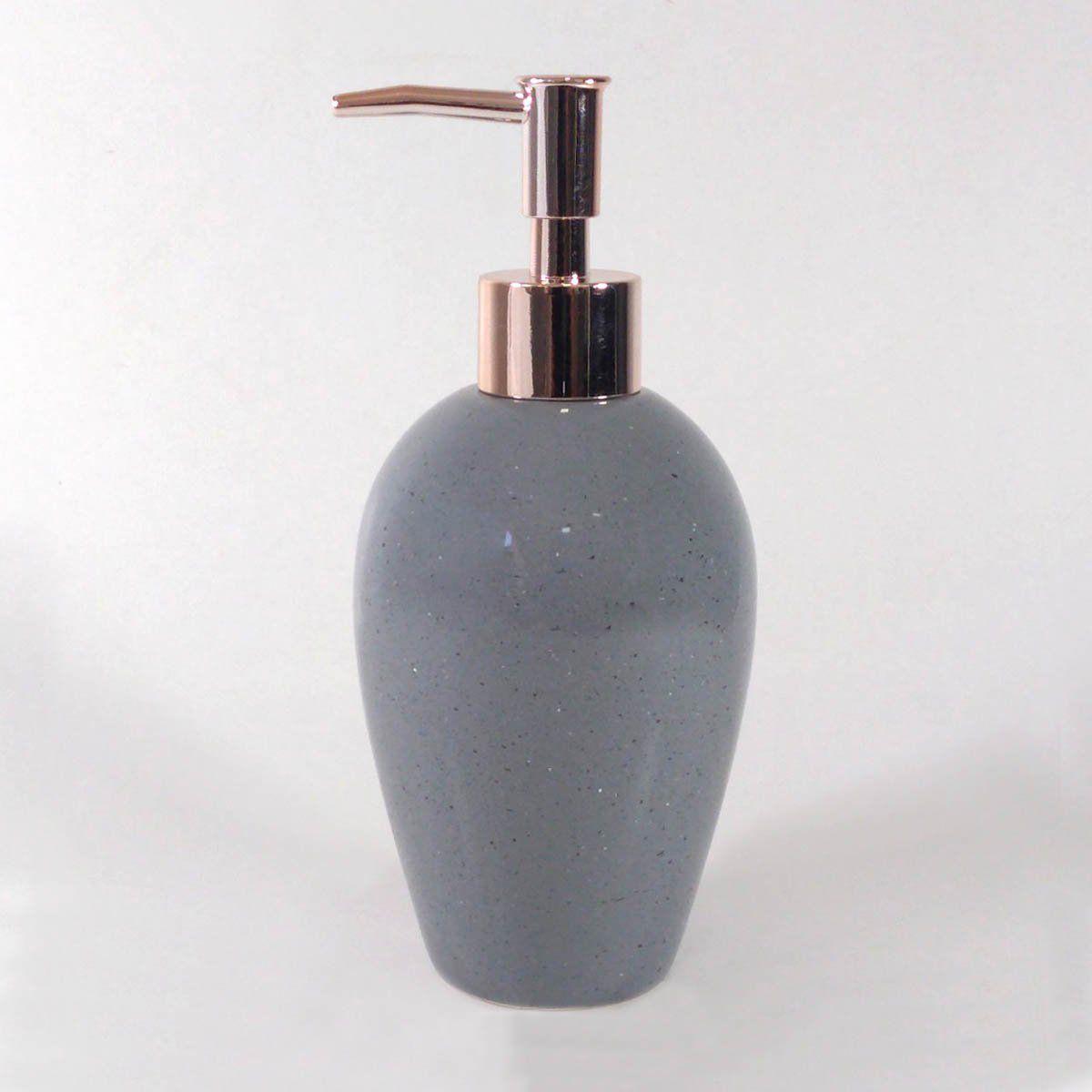 Porta Sabonete Liquido Cerâmica Cinza/Rose Gold 18CM 9070