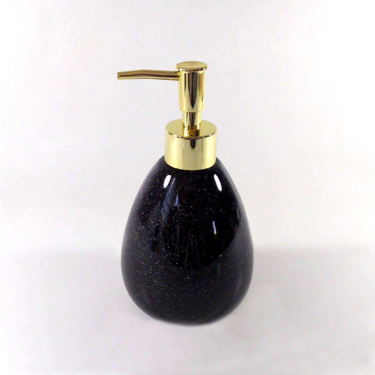 Porta Sabonete Liquido Cerâmica Preto 18CM 9072