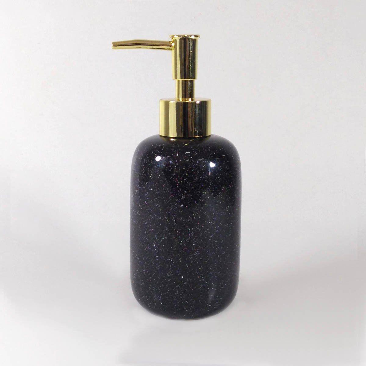 Porta Sabonete Liquido Cerâmica Preto/Dourado 17CM 9071