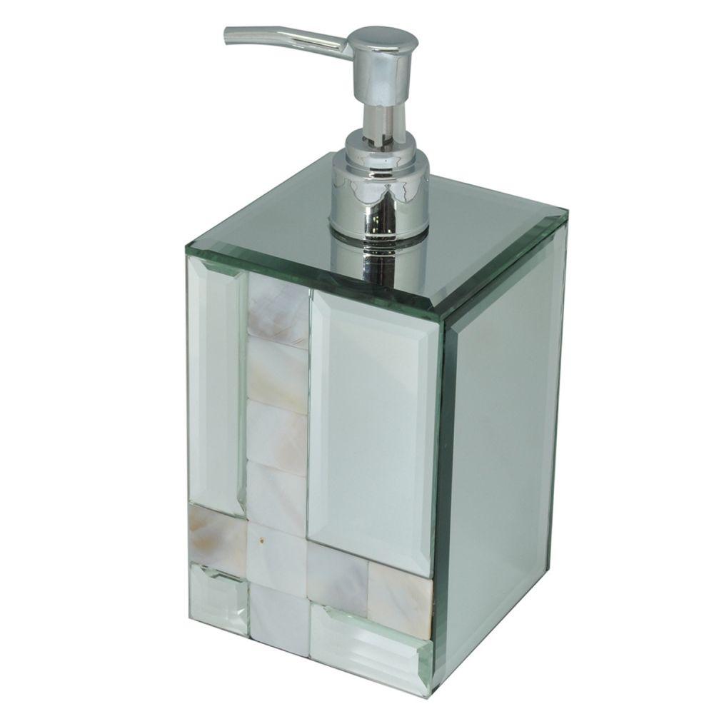 Porta Sabonete Liquido Espelhado/Cromado C/ Madrepérola 18CM KV0050