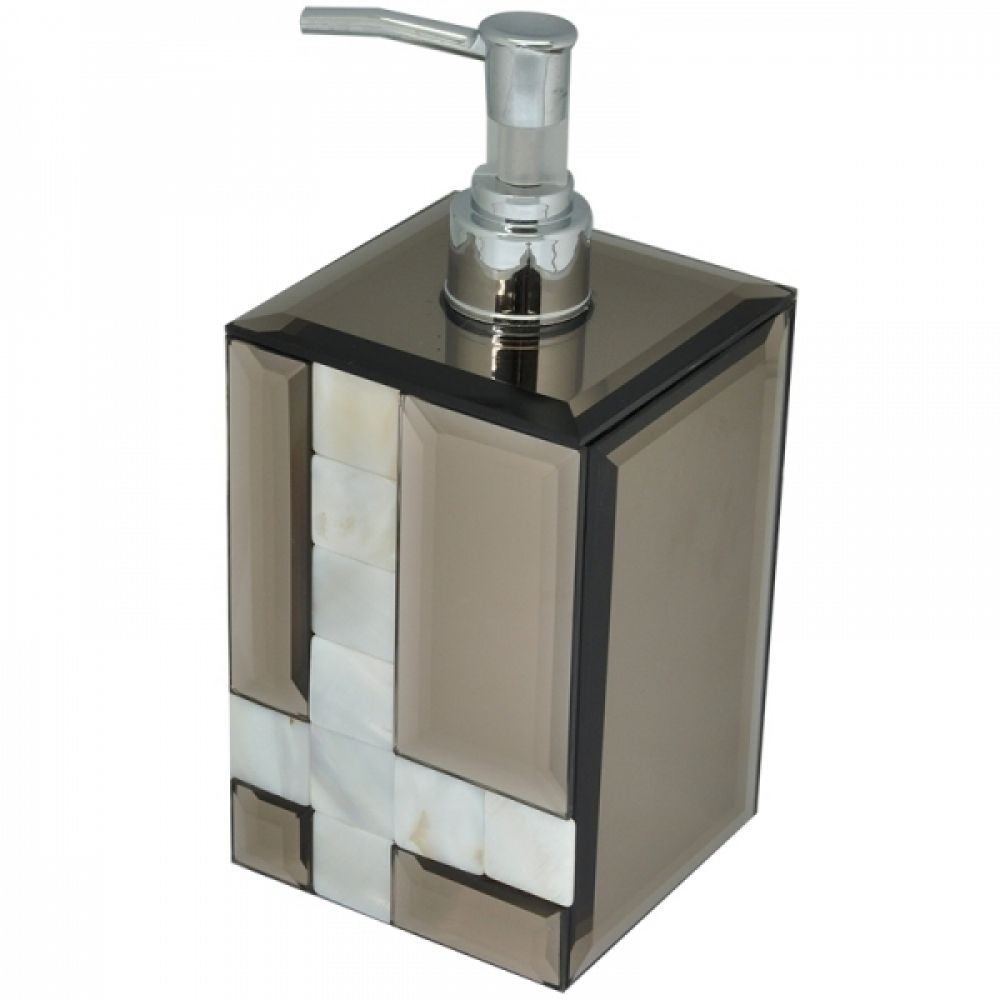 Porta Sabonete Liquido Espelhado/Fume C/ Madrepérola 18CM KV0051