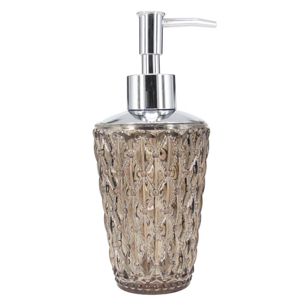 Porta Sabonete Liquido Vidro Detalhado Bege/Cromado 18CM HJ0035