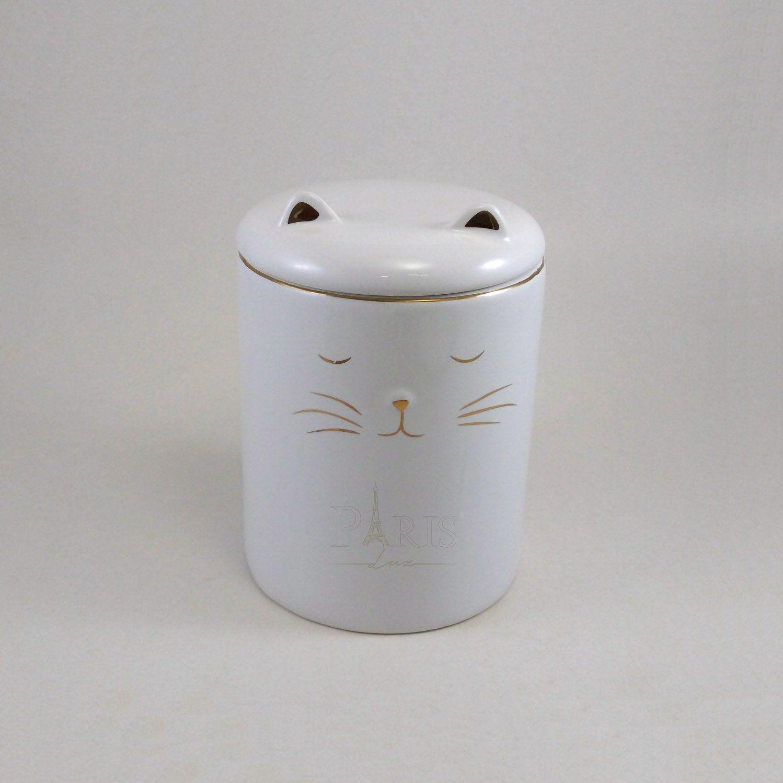 Pote Gato Cerâmica Decorativo Branco 11,5x16CM 8693