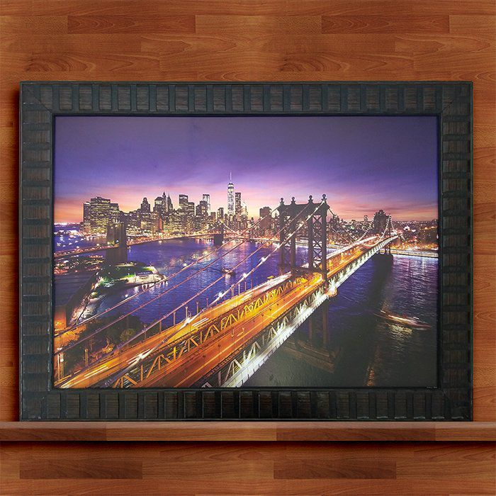 Quadro Decorativo Com Moldura Ponte Brooklyn 50X70CM QD32