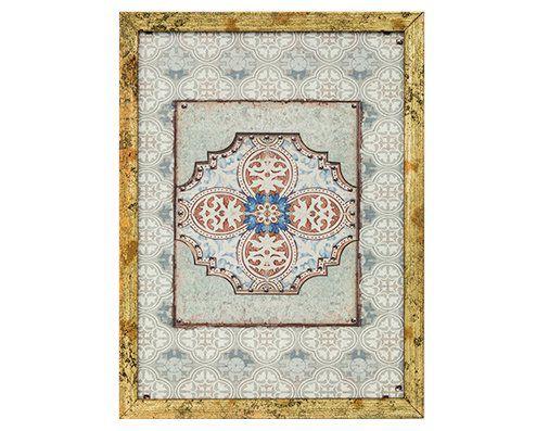 Quadro Em Canvas Azulejo Decorativo Com Moldura 20x15CM 6961
