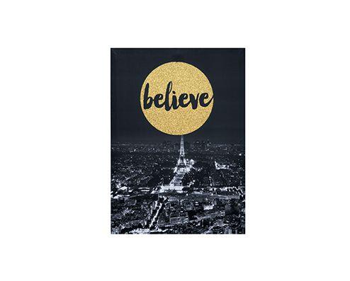 """Quadro Em Canvas Decorativo """"Believe"""" Com Moldura 6350 50X70CM"""