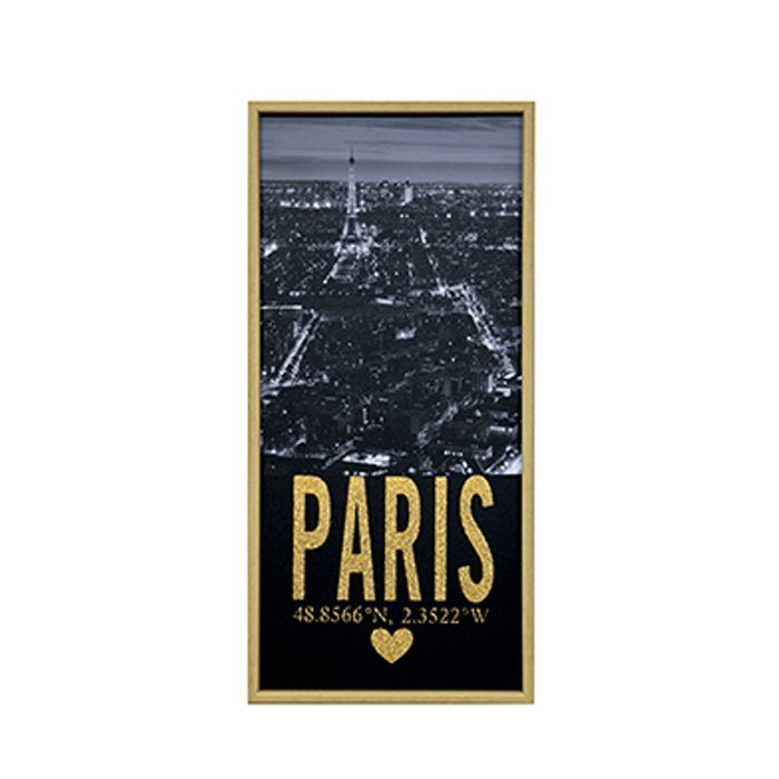 Quadro Em Canvas Paris Decorativo Com Moldura 6333 38X80CM