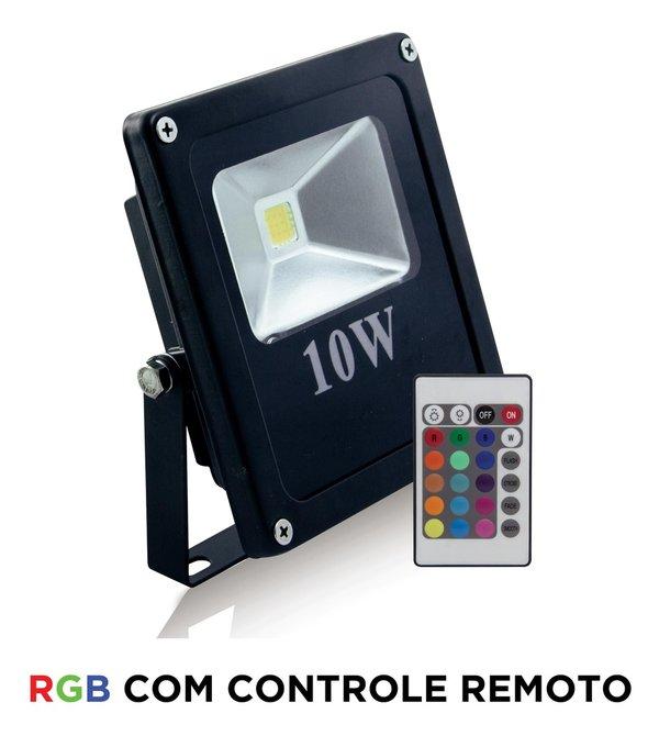 REFLETOR LED 10W RGB SLIM C/ CONTROLE EMBU LED