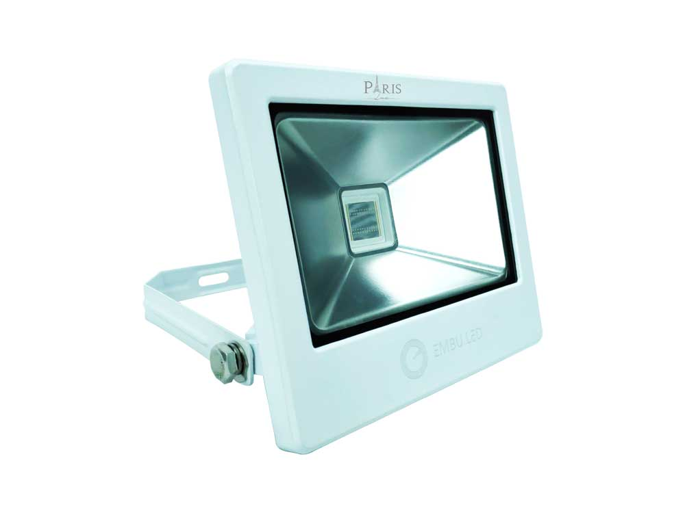 Refletor Super LED 30W Verde Slim EmbuLED Corpo Branco