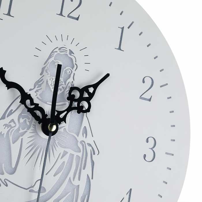Relógio de Parede LED Jesus Branco 3000k Luz Amarela