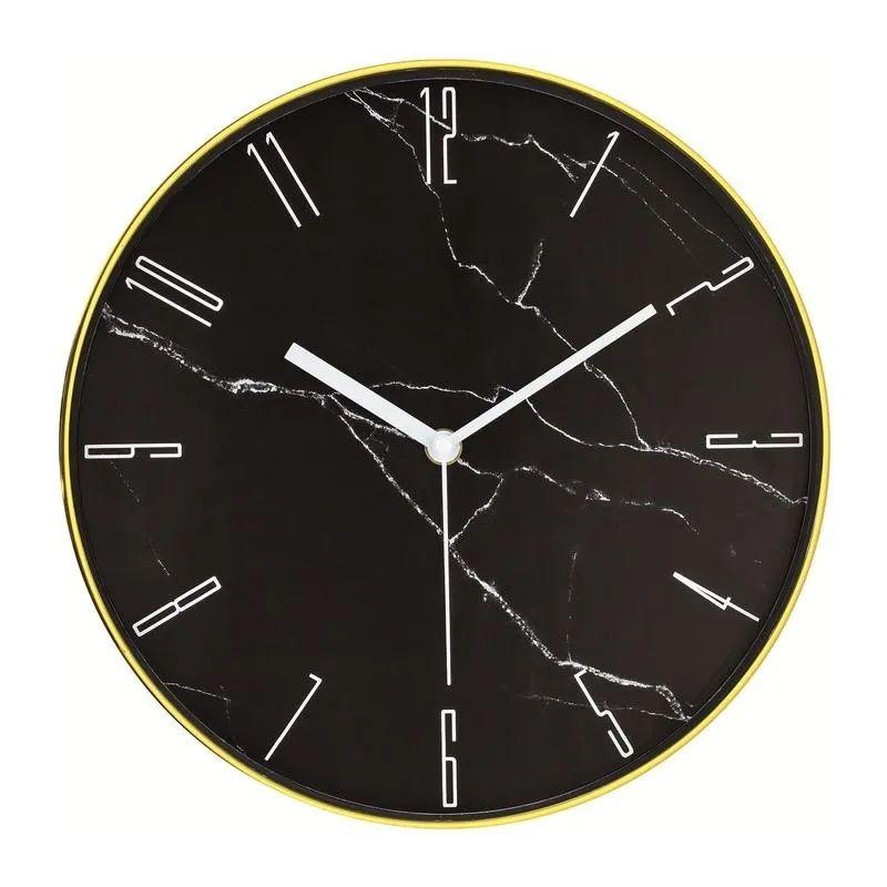 Relógio Parede Dourado/Preto Redondo Decorativo 30X4,5CM 10089