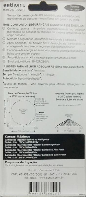 Sensor De Presença Teto Sobrepor 360º C/ Fotocélula AST-05/WR Aut-home