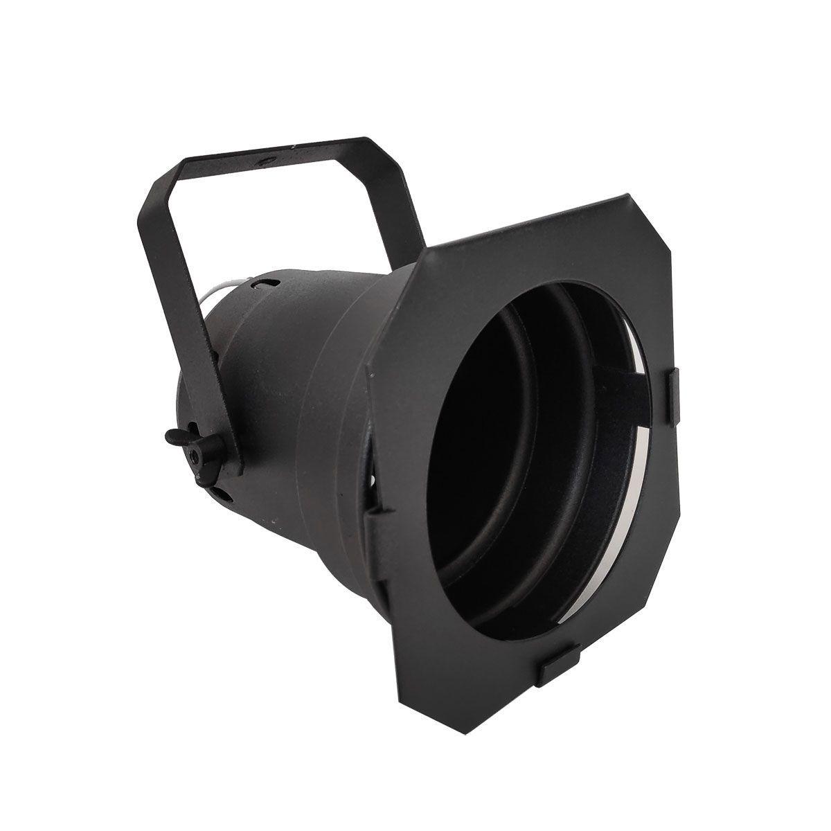Spot Cênico Projetor Canhão Par30 Preto Com Haste E Porta Gelatina