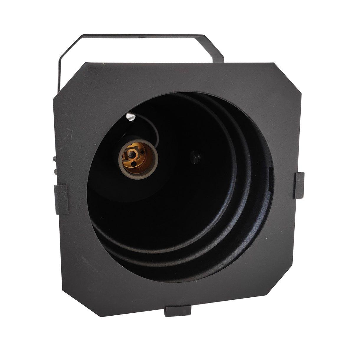 Spot Cênico Projetor Canhão Par38 Preto Com Haste E Porta Gelatina