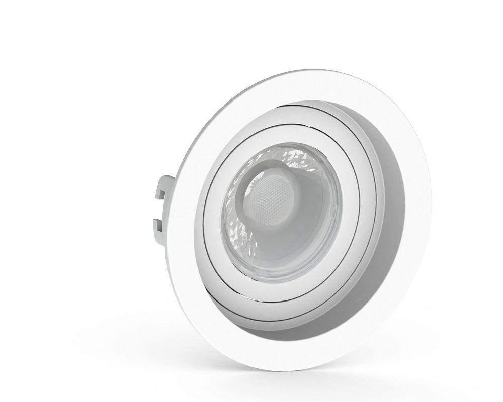 Spot Embutido Dicroica MR16 Redondo Termoplastico Recuado Branco Save Energy