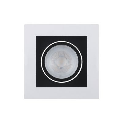 Spot Embutido Quadrado Branco Face Recuada Preta LED 5W 2700K DL128PT Bella