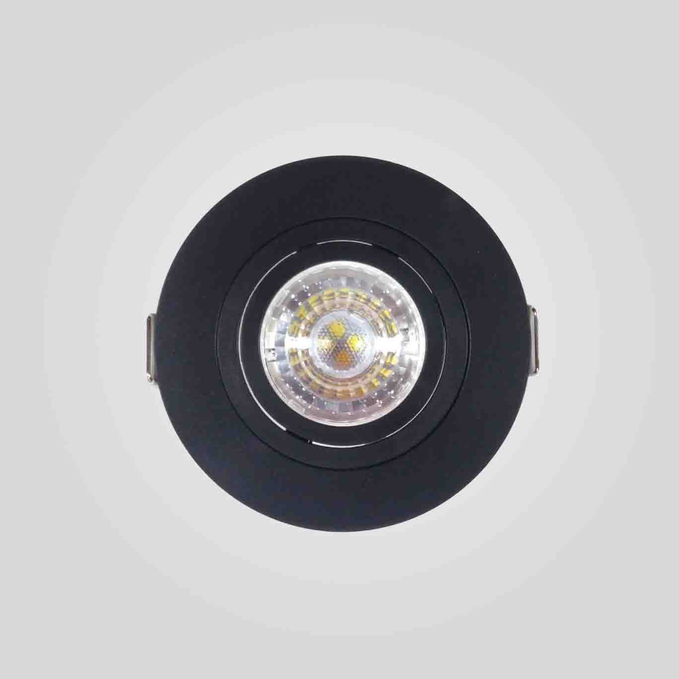 Spot Embutido Redondo Direcionavel Face Plana Dicroica MR16 GU10 Preto Save Energy