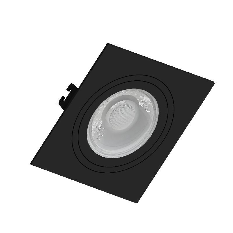 Spot Embutir AR111 Direcionável Quadrado Plano Preto