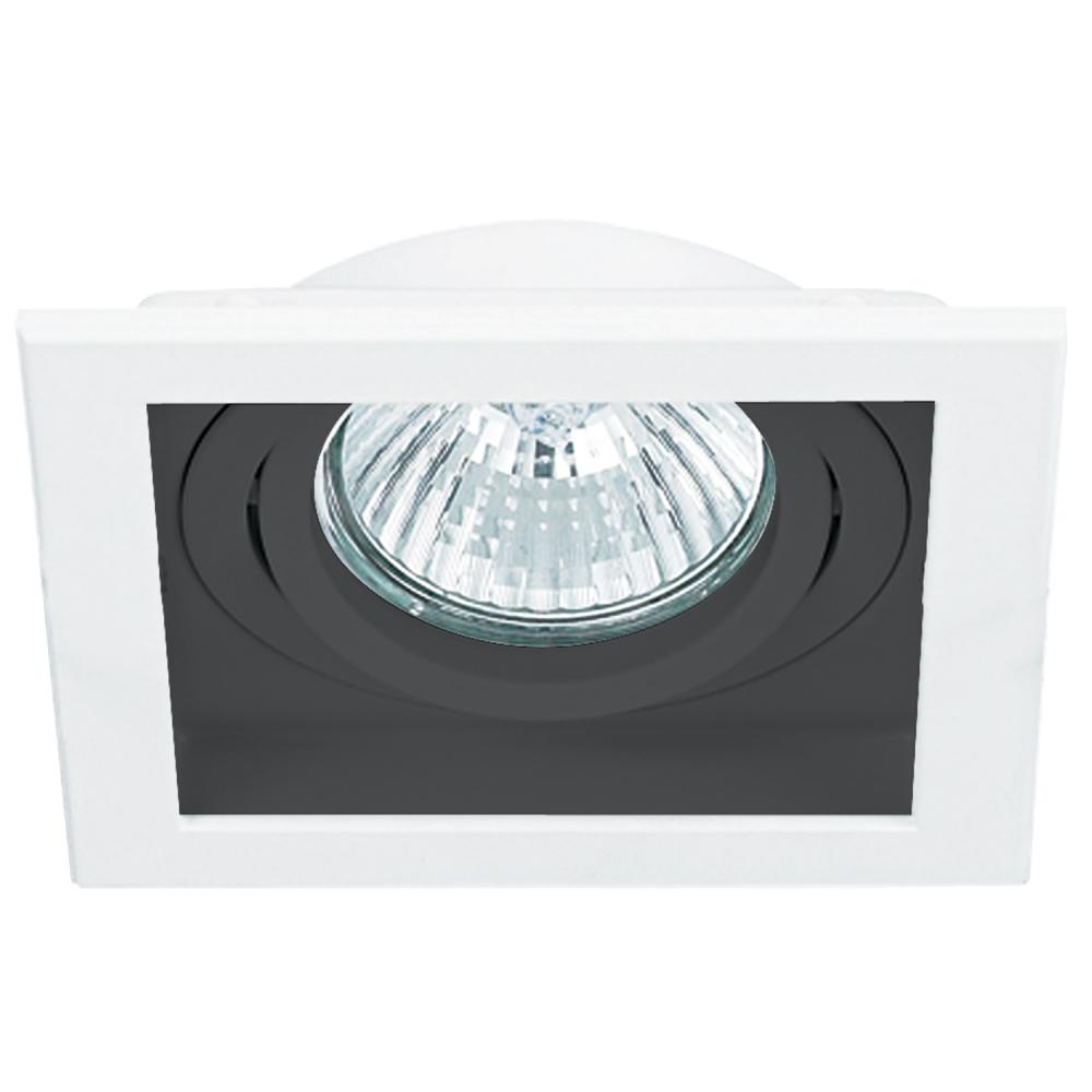 Spot Embutir AR70 Quadrado Branco E Preto NS7701P
