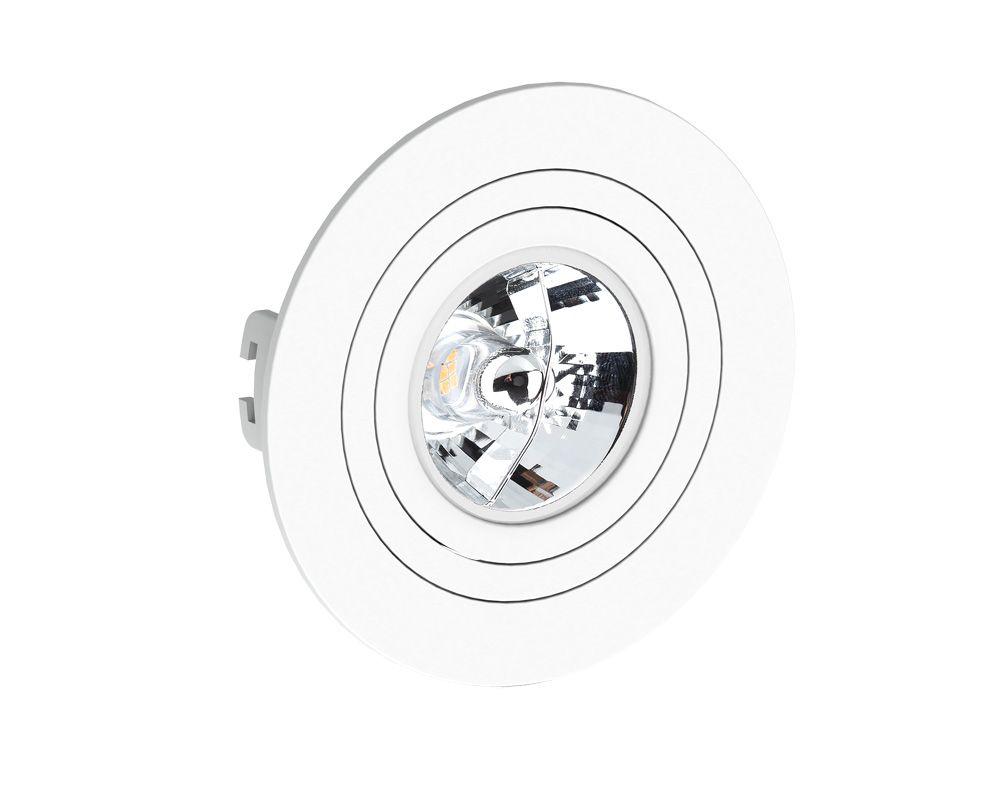 Spot Embutir AR70 Redondo Termoplastico Branco Face Plana GU10 Save Energy