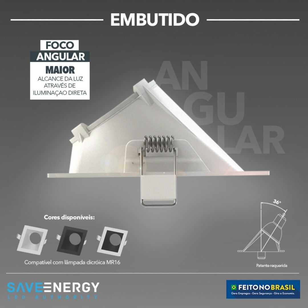 Spot Embutir Dicroica MR16 Quadrado Face Recuada Angular 36º Graus Branco Save Energy