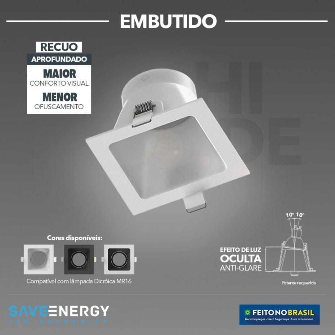 Spot Embutir Dicroica MR16 Quadrado Hide Face Recuo Profundo Branco Save Energy
