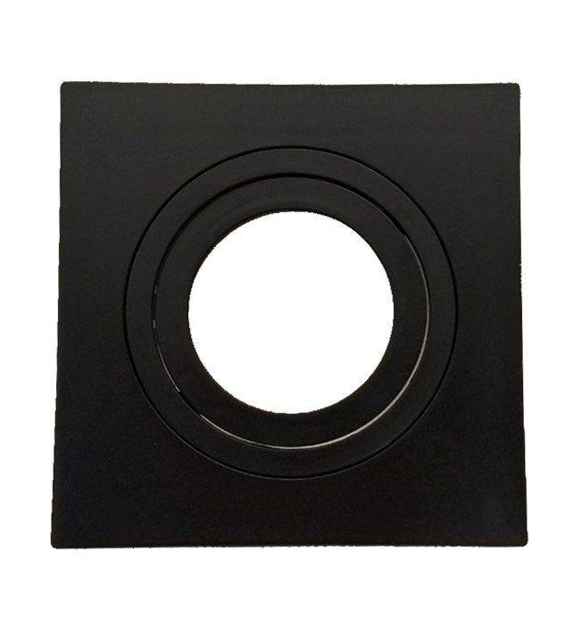 Spot Embutir Dicroica MR16 Quadrado Termoplastico Face Plana Preto Save Energy