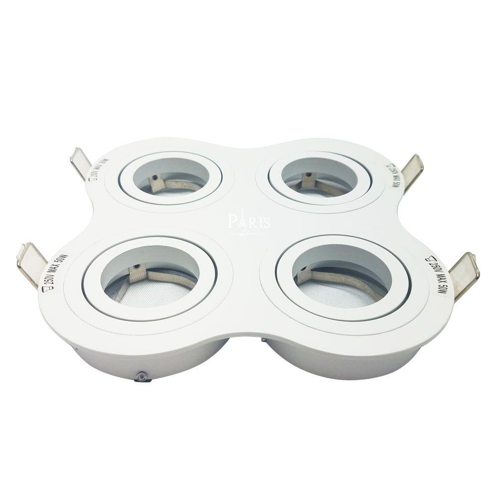 Spot Embutir Dicroica MR16 Quádruplo Branco NS5600-4B Bella