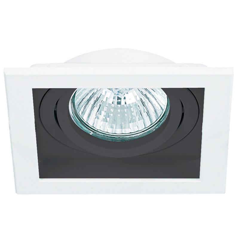 Spot Embutir Dicroica MR11 Quadrado Branco E Preto NS7351P
