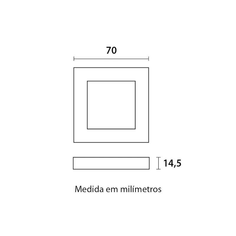 Spot Led Embutir Quadrado Movél Cabinet 2W 3000K Blumenau