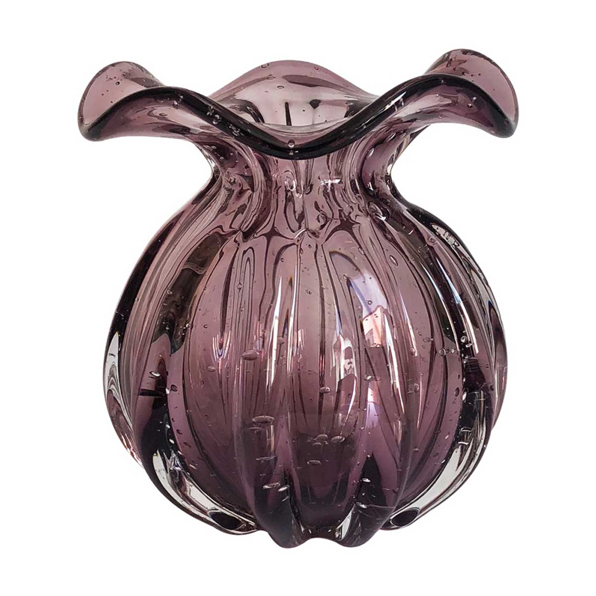 Vaso De Vidro Murano Roxo Trouxinha 15cm x 16,5cm OD0012