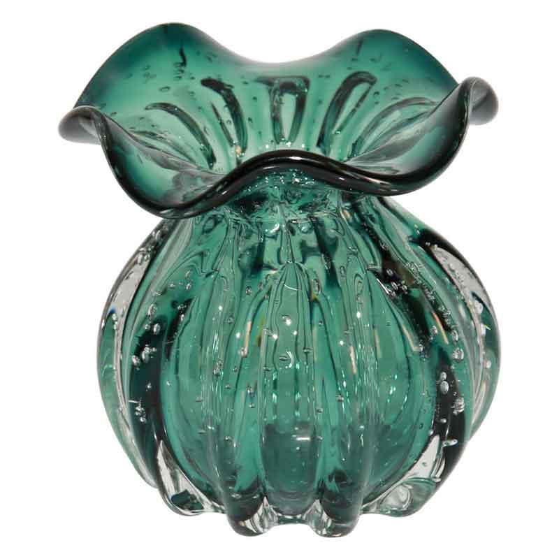 Vaso De Vidro Murano Verde Trouxinha 10cm x 11cm OD004