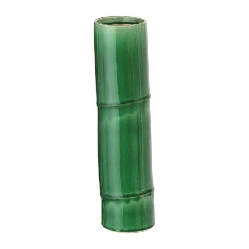 Vaso Decorativo Cerâmica Bambu Verde 8X33CM 7627
