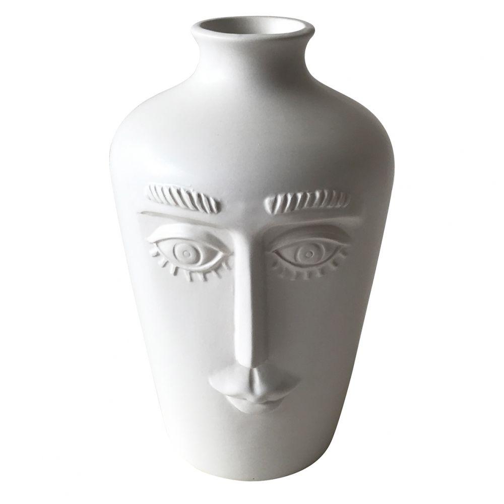 Vaso Decorativo Cerâmica Face Branco 18x11cm BTC