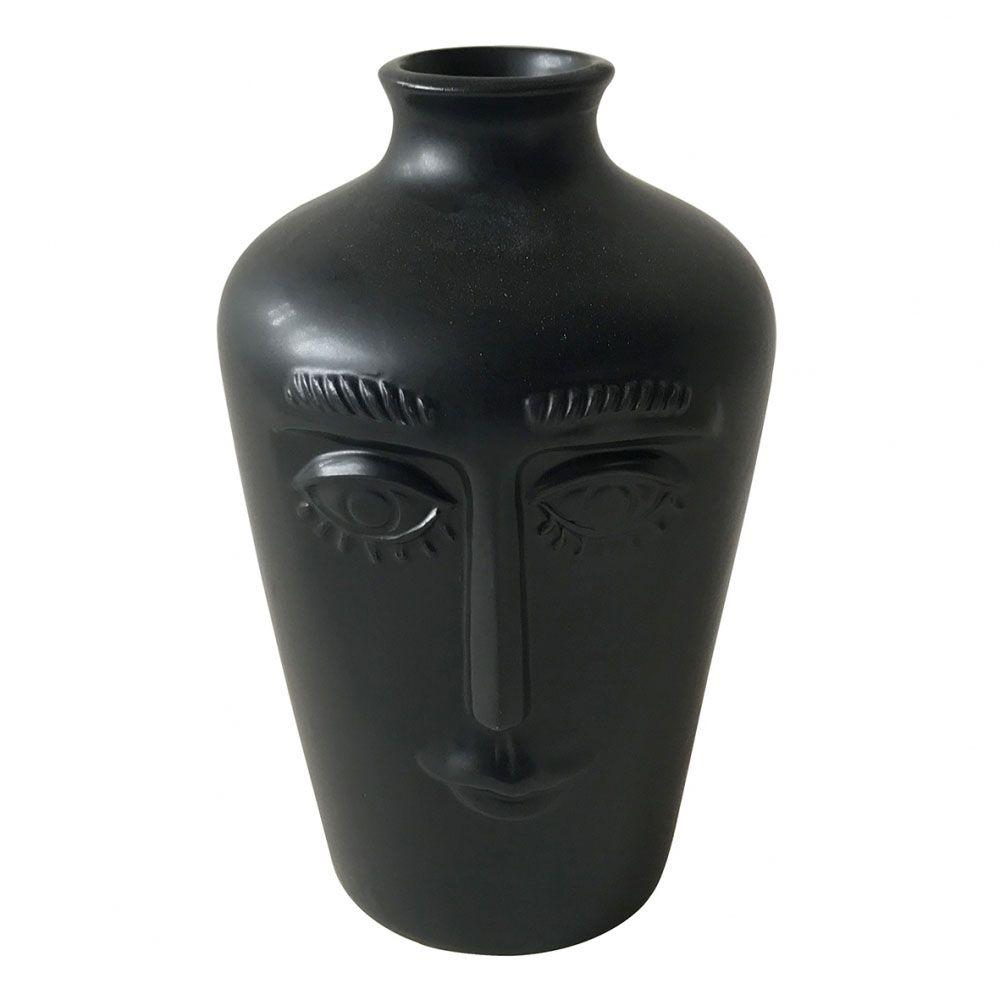 Vaso Decorativo Cerâmica Face Preto 18x11cm BTC