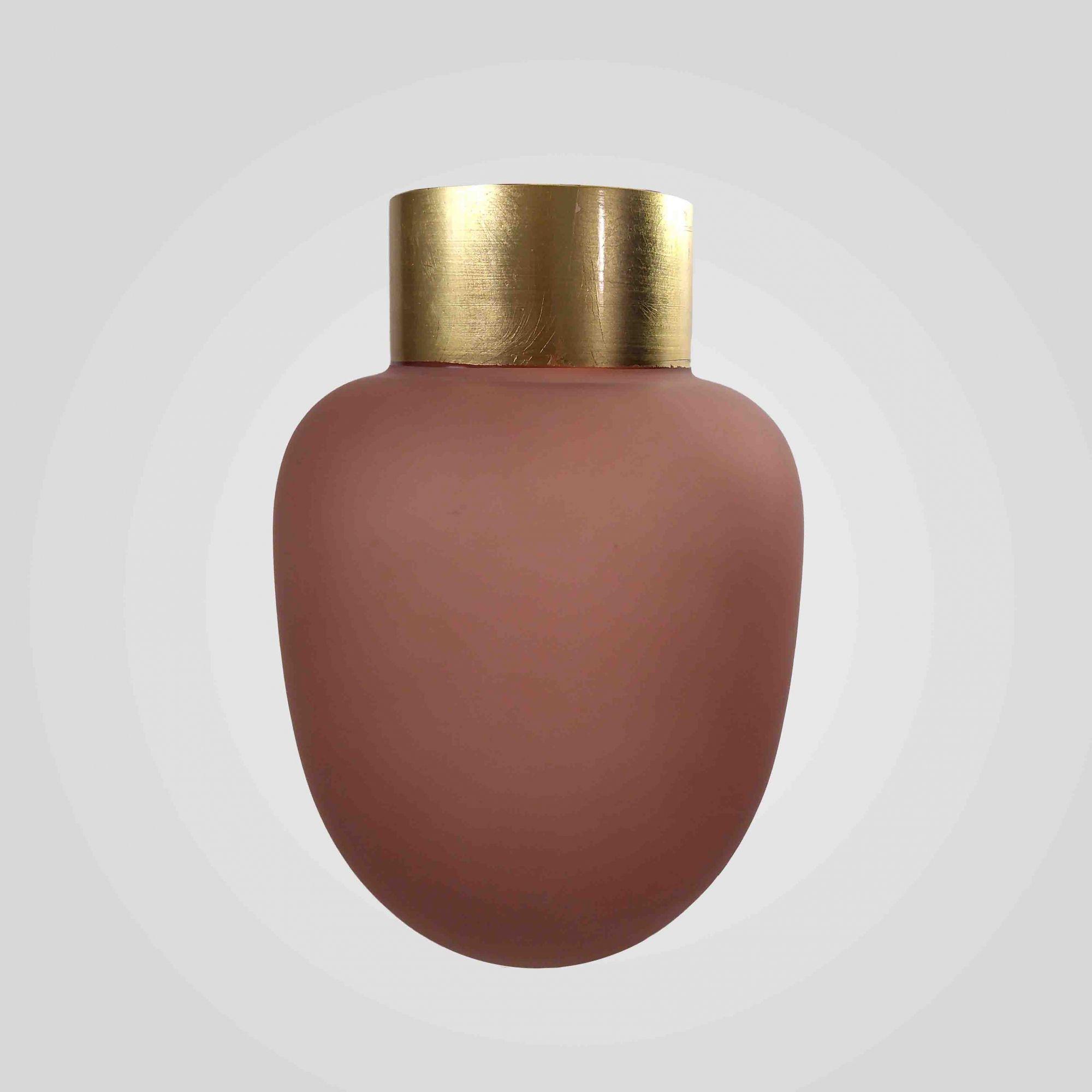Vaso Decorativo Em Vidro Rosa Detalhe Dourado 18X25,5CM 9013 Mart