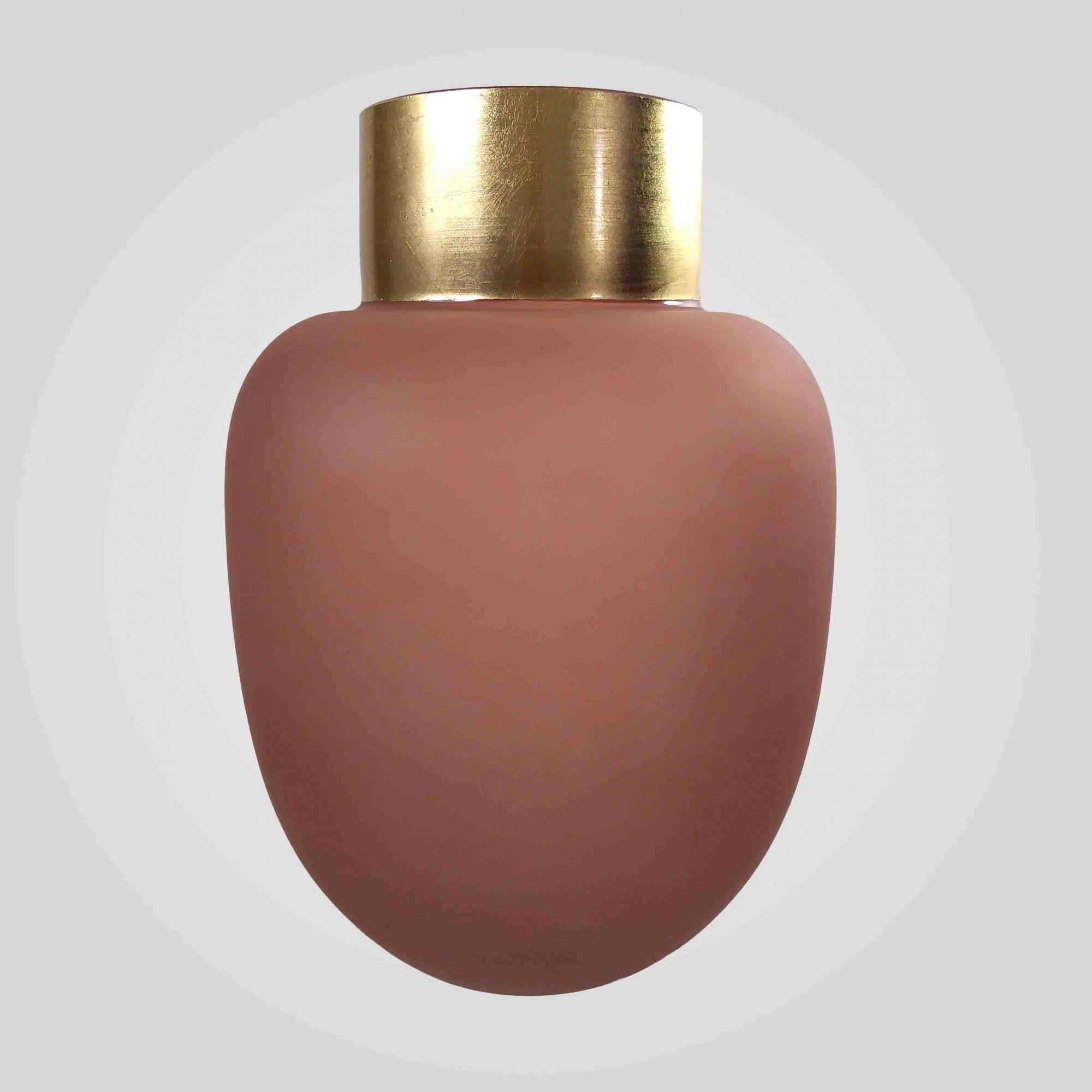 Vaso Decorativo Em Vidro Rosa Detalhe Dourado 22X30CM 9011 Mart Collection