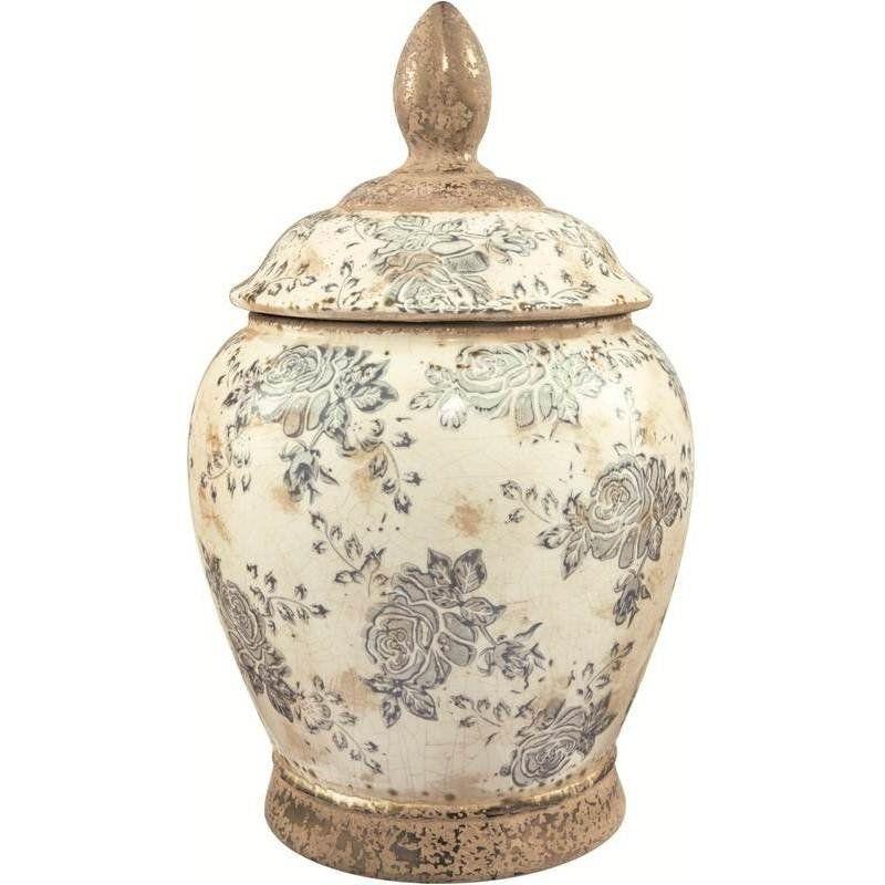 Vaso Potiche Cerâmica Branco 23X37CM 6894 Mart