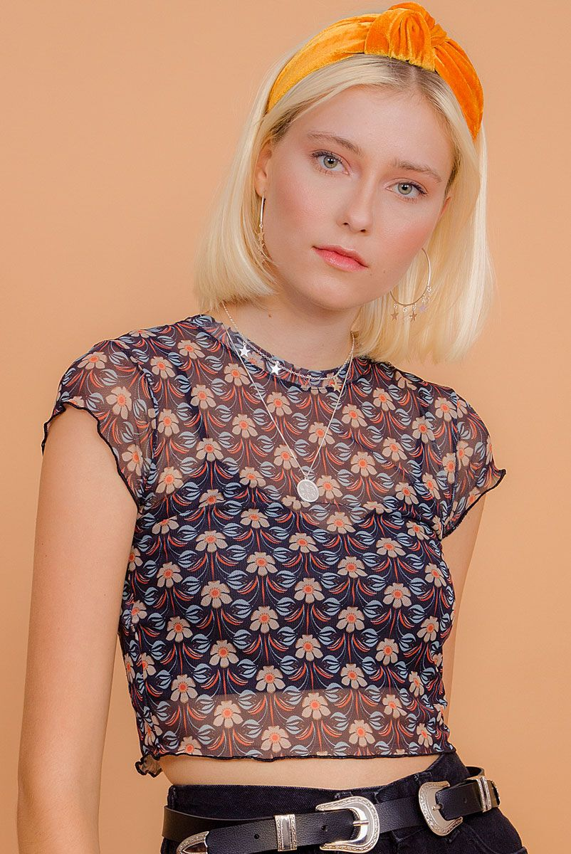 Blusa Cropped Tule Floral Janis Azul