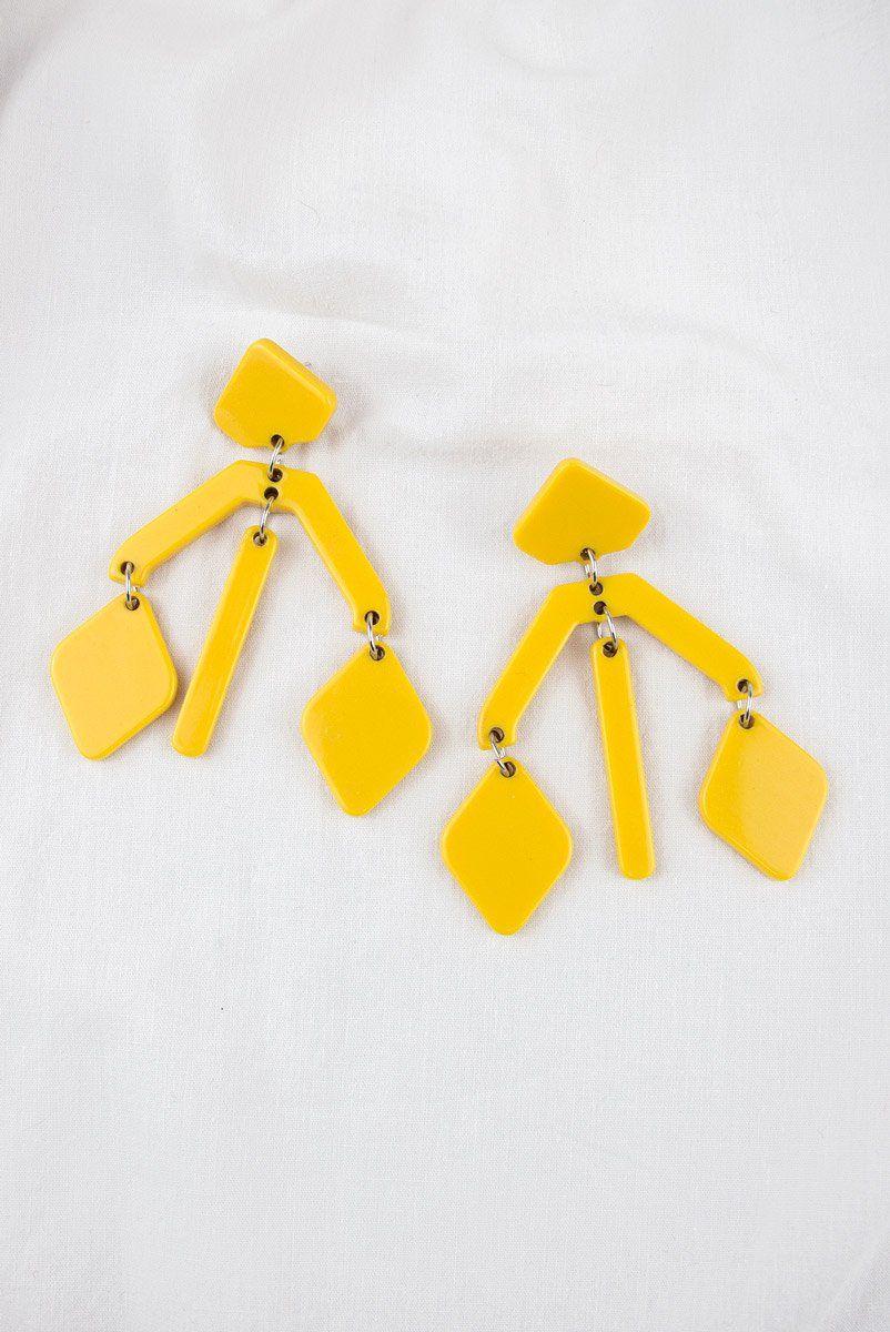 Brinco Acrilico Geo Amarelo