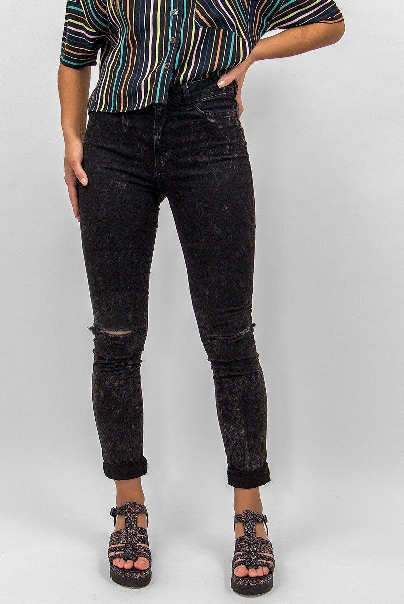 Calca Jeans Marmorizada BLK