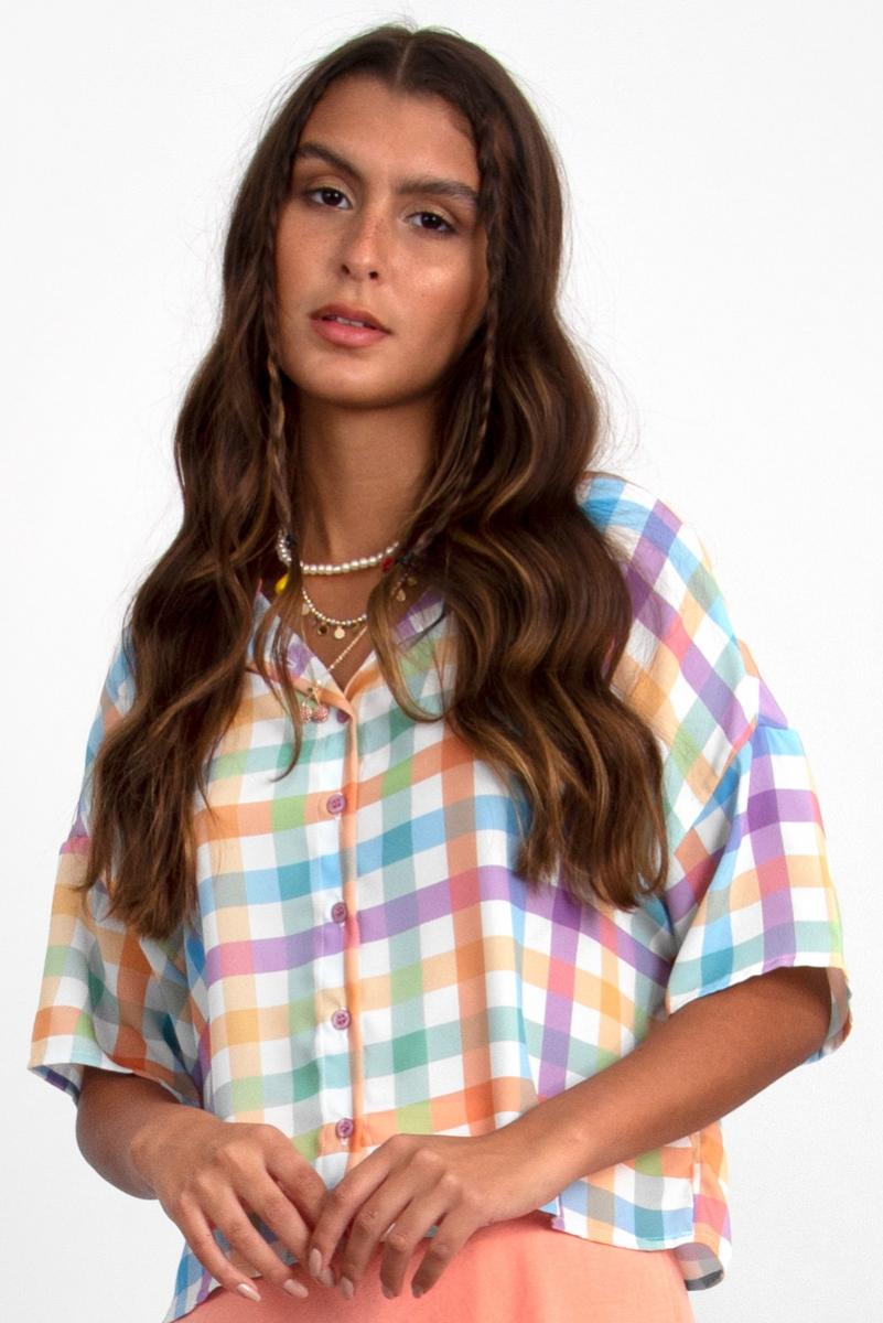 Camisa Cropped Botões Xadrez Candy