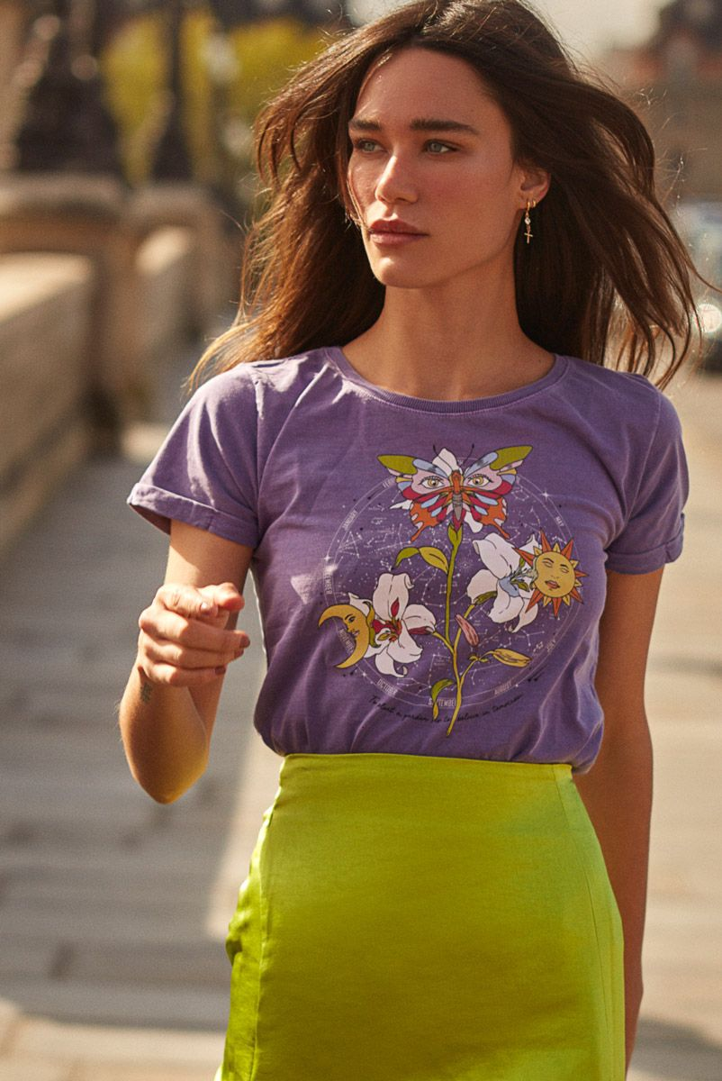 Camiseta Baby Look Lilás Meu Jardim