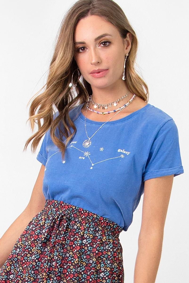 Camiseta Babylook Azul Constelação