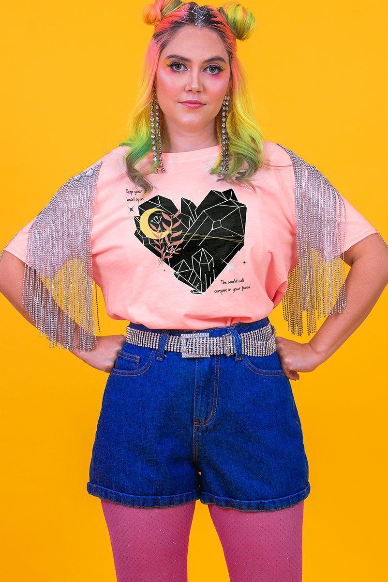 Camiseta Box Cristal Coração Aberto