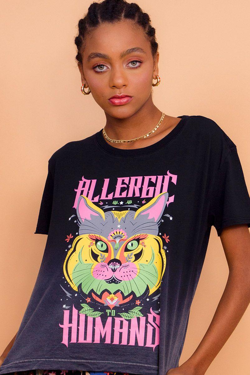 Camiseta Box Degradê Allergic Gato